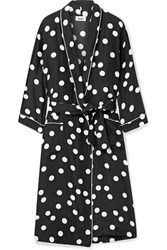 Sleepy Jones Marianne Polka Dot Silk Charmeuse Robe Black
