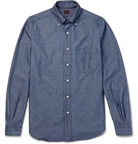 Massimo Piombo Mp Slim Fit Button Down Collar Cotton Chambray Shirt Blue