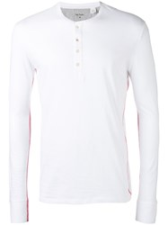 Paul Smith Classic Henley Long Sleeve Top Men Cotton L White