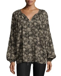 Michael Kors Long Sleeve Split Neck Peasant Blouse Taupe Brown