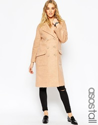 Asos Tall Coat In Cocoon Fit Camel