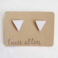 Here Today Here Tomorrow White Wooden Triangle Earrings