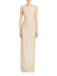 Carmen Marc Valvo Sleeveless Organza Circle Applique Gown Gold