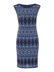 Simon Jeffrey Printed Sleeveless Dress Blue