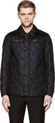 Burberry Navy Leather And Nylon Quilted Jacket