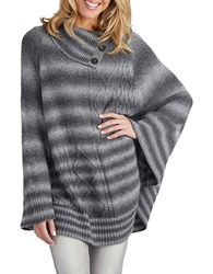 Democracy Cable Knit Ombre Knit Cape Heather Grey