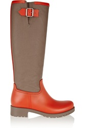 Mm6 Maison Margiela Canvas And Pvc Rain Boots Orange