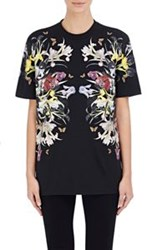 Givenchy Women's Floral Jersey T Shirt Black