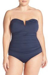 Tommy Bahama Plus Size Women's 'Pearl' Convertible One Piece Swimsuit Mare Navy