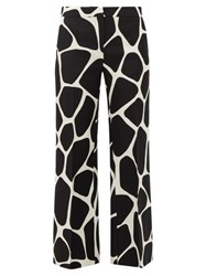 Valentino Giraffe Print Wool Blend Straight Leg Trousers Black White
