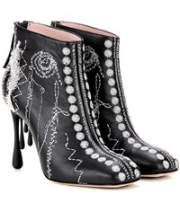 Christopher Kane Scribble Embroidered Leather Ankle Boots Black