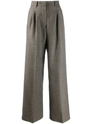 Fendi Houndstooth Pattern Trousers Neutrals