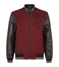 True Religion Leather Sleeve Varsity Jacket Male Red
