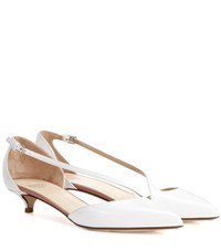 Francesco Russo Patent Leather Kitten Heel Pumps White