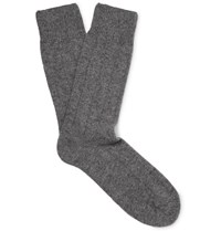 Anderson And Sheppard Merino Wool Blend Socks Gray