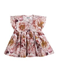 Molo Channi Peonies Short Sleeve Dress Size 6 24 Months Multi