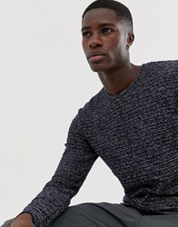 Selected Homme Knitted Jumper With Mixed Yarn Detail Navy Peony
