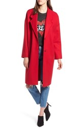 Kendall Kylie Drop Shoulder Midi Coat Red