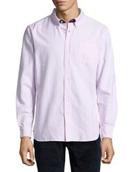 Jachs Ny Striped Cotton Button Front Shirt Pink