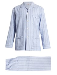 Derek Rose Arran Brushed Cotton Pyjama Set Blue Multi