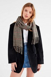 Urban Outfitters Prince Of Wales Checkered Scarf Brown Multi