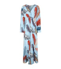 Emilio Pucci Feather Print Silk Maxi Dress Female Blue