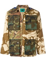 Paura Military Printed Jacket Nude And Neutrals