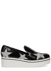 Stella Mccartney Binx Star Flatform Loafers Black And White