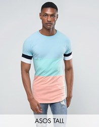 Asos Tall Muscle Longline T Shirt In Pastel Colour Block Malibu Mint Green