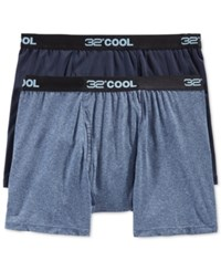 32 Degrees Cool By Weatherproof Boxer Briefs 2 Pack Navy Heather Navy