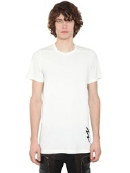 Rick Owens Embroidered Cotton Jersey T Shirt White