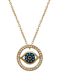 Lord And Taylor 14K Gold Diamond Evil Eye Necklace Blue