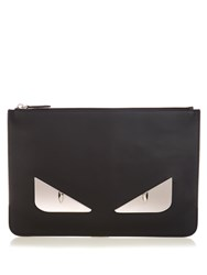 Fendi Bag Bugs Leather Pouch Black