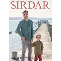Sirdar Harrap Tweed Chunky Adult And Children's Jumper Knitting Paper Pattern 7847