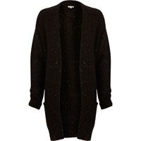 River Island Womens Black Knit Sequin Oversized Cardigan