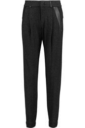 Vince Leather Trimmed Jersey Tapered Pants Gray