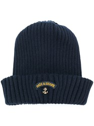 Paul And Shark Logo Patch Ribbed Hat Blue