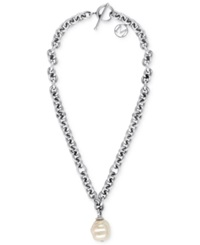 Majorica Stainless Steel Chain And Man Made Pearl Pendant Necklace 18Mm