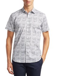 Saks Fifth Avenue Modern Short Sleeve Etched Print Woven Shirt Midnight
