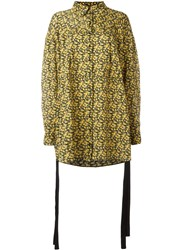 Magda Butrym Floral Print Oversized Shirt Women Silk 36 Yellow Orange
