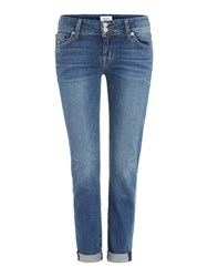 Hudson Jeans Ginny Straight Jean With Ankle Cuff Denim Mid Wash