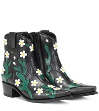 Valentino Garavani Ranch Flowers 40 Leather Ankle Boots Black