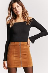 Forever 21 Faux Suede Zip Front Skirt Camel
