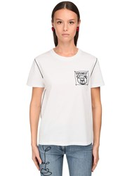 Moschino Embroidered Cotton Jersey T Shirt White