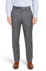 John W. Nordstrom Big And Tall Torino Traditional Fit Flat Front Solid Trousers Grey