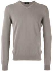Fay V Neck Sweater Men Cotton 56 Brown