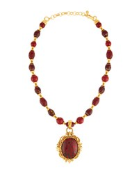 Jose And Maria Barrera Red Glass Beaded Pendant Necklace