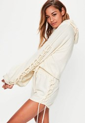 Missguided Cream Lace Up Sleeve Detail Cropped Hoodie