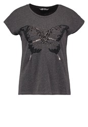 Only Onlpako Print Tshirt Dark Grey Melange Mottled Dark Grey