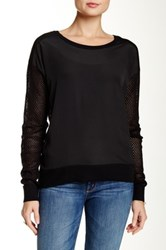 Dolce Cabo Crew Mesh Back Sleeve Sweater Black